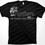 Imprinted Panthers are Readers and Leaders BW tshirt