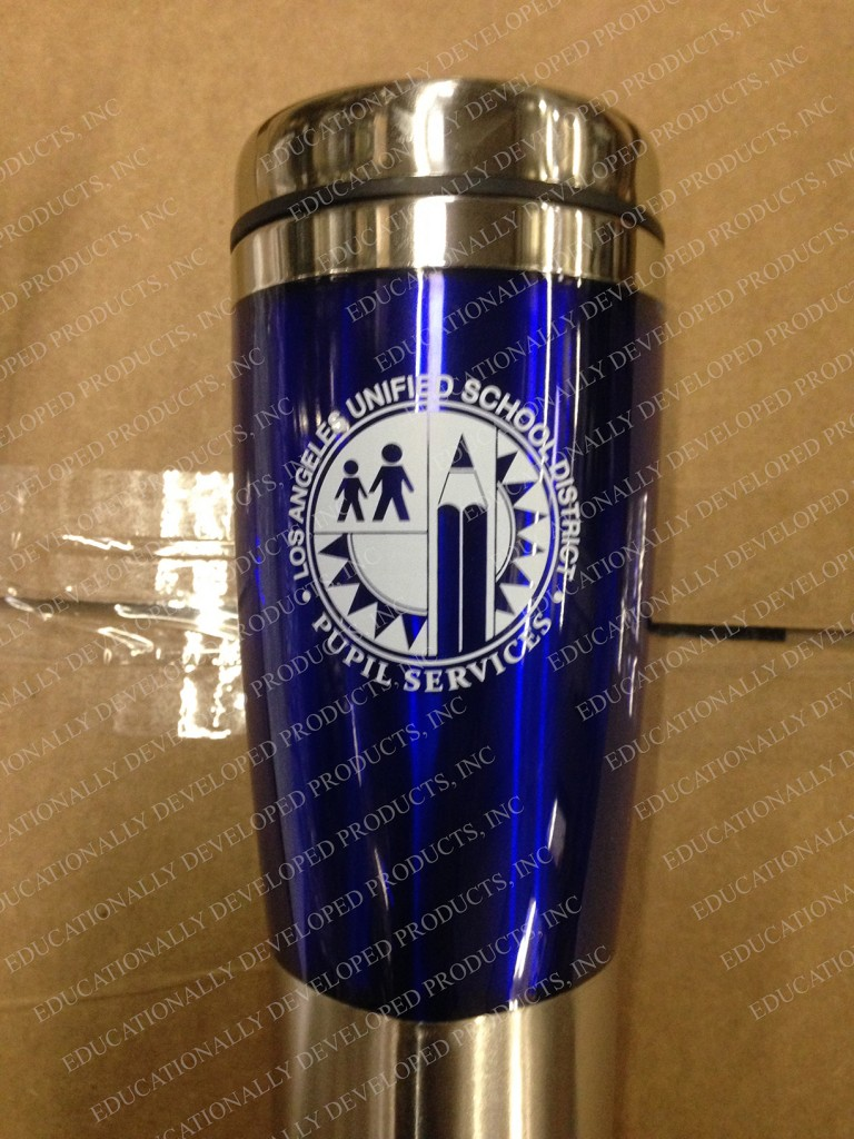 Customized LAUSD Pupil Services tumbler by Educationally Developed Products, Inc.