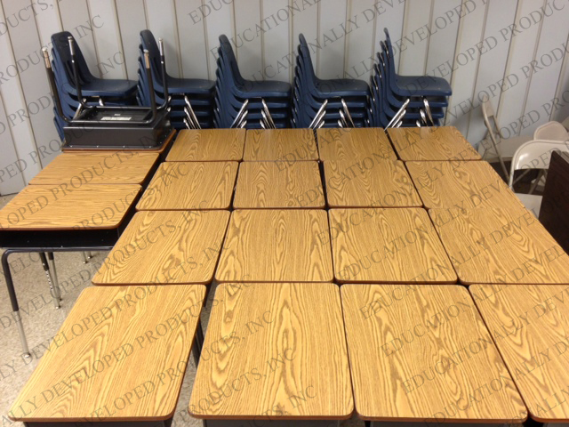 EDP Team assembled these sets of classroom desk and chairs for Maxine Waters Employment Preparation Center